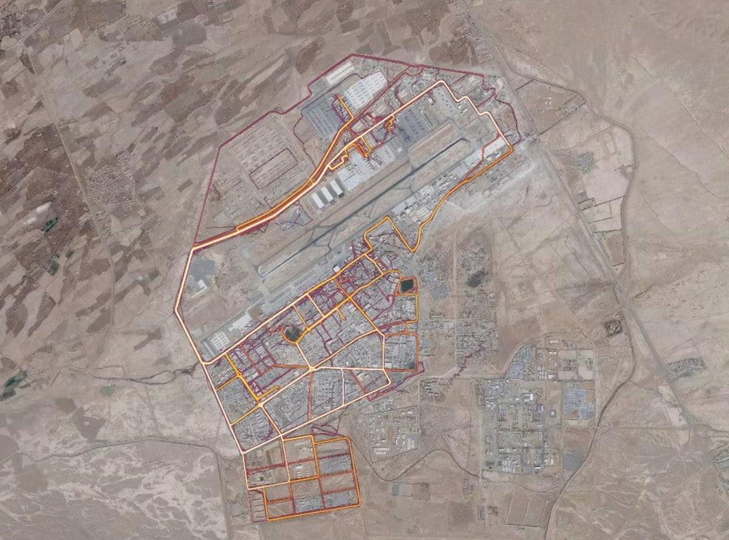 Военная база США в Кандагаре, карта: Strava
