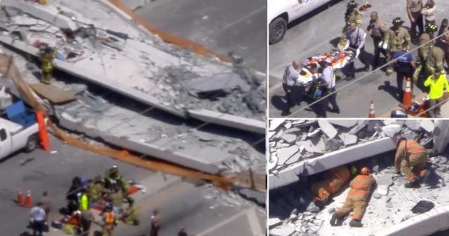 ВМайами рухнул пешеходный мост