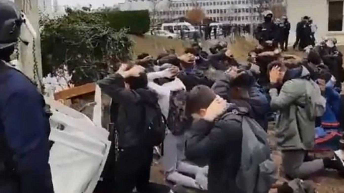 Затримання школярів у Франції. Фото: Скріншот