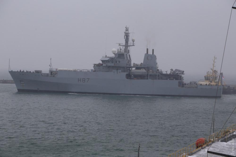 Корабль ВМС Великобритании в Одессе. Фото: «Думская»