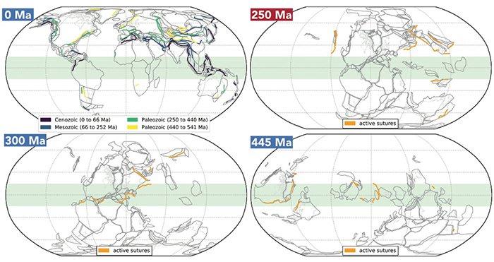 Модели основной тектонической активности (оранжевые линии) за последние 540 млн лет, инфографика: Science Alert