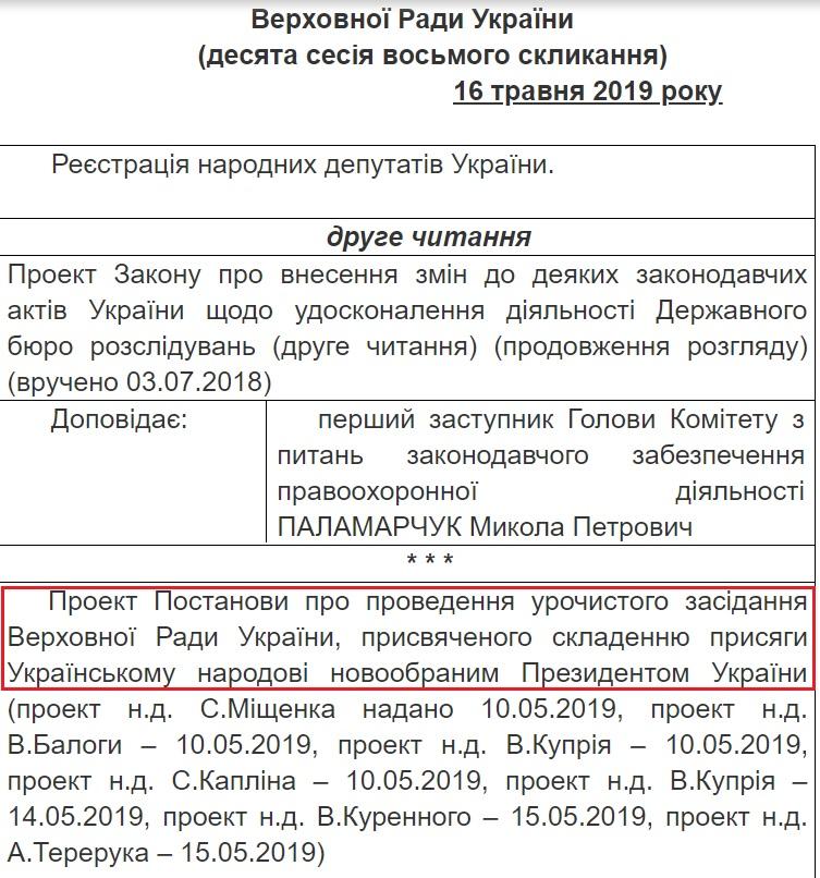 Дату інавгурації Зеленського обирає Верховна Рада