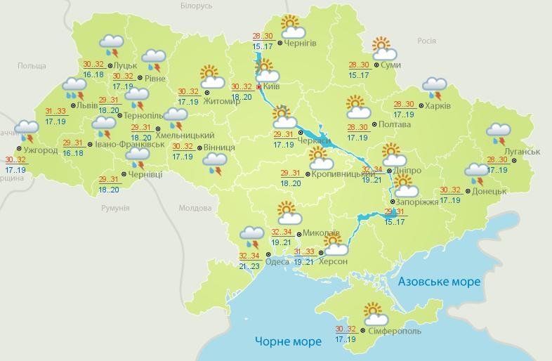 Погода в Украине 16 июня. Карта: Укргидрометцентр