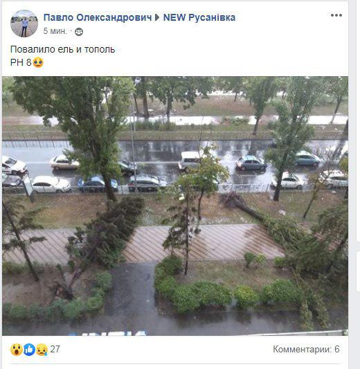 У Києві масштабний ураган затопив вулиці і повалив дерева. Фото: очевидці у Facebook