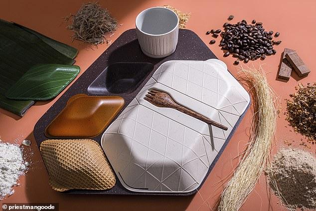 Їстівний посуд: у Лондоні створили бокси і чашки з кави, листя та зерна. Фото: PriestmanGoode