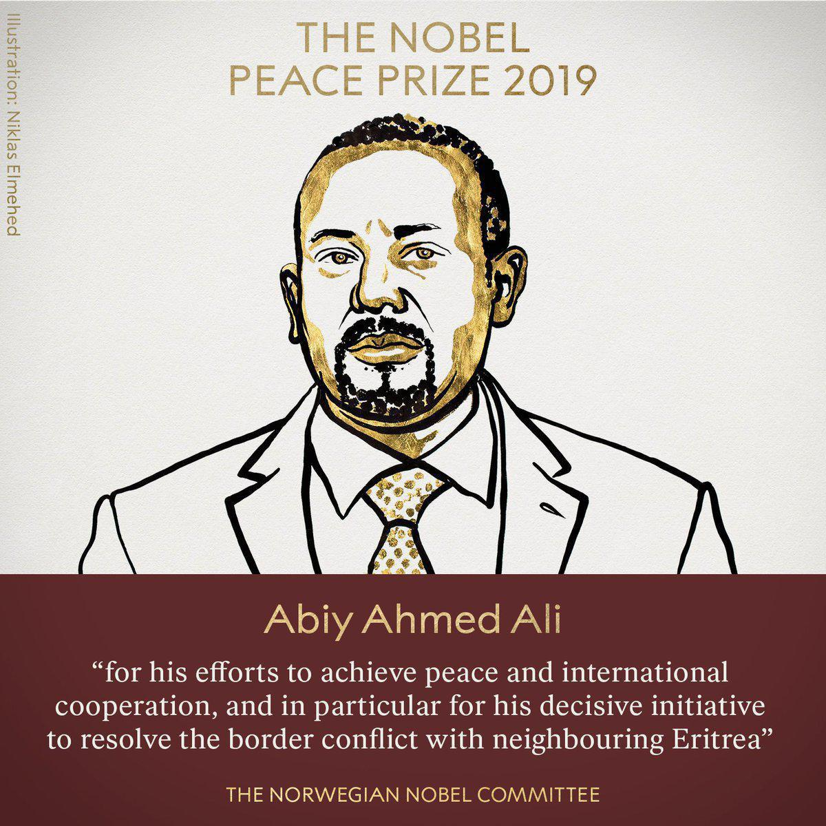 Нобелівську премію миру присуджено прем'єру Ефіопії за припинення двадцятирічної війни. Фото: Twitter