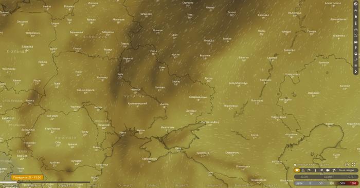 Загрязнение воздуха в Украине монооксидом углерода сегодня, скриншот: Windy.com