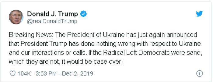 Скриншот поста Дональда Трампа в Twitter