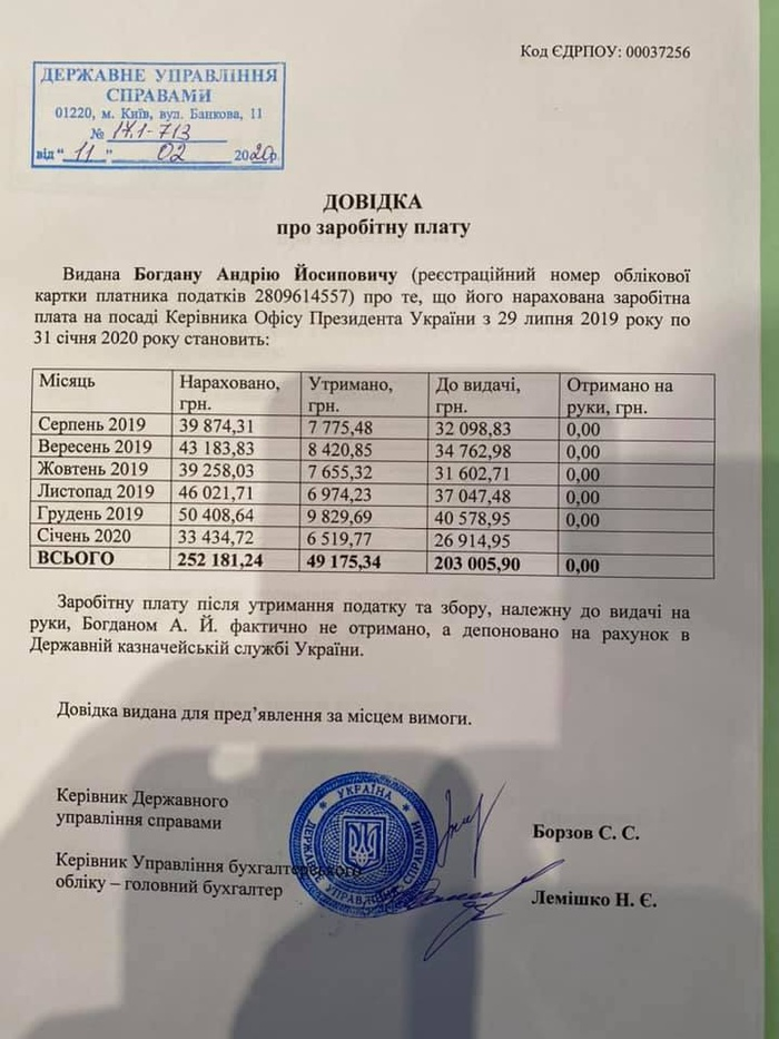 Фотокопія довідки про зарплату Андрія Богдана. Фото: Facebook
