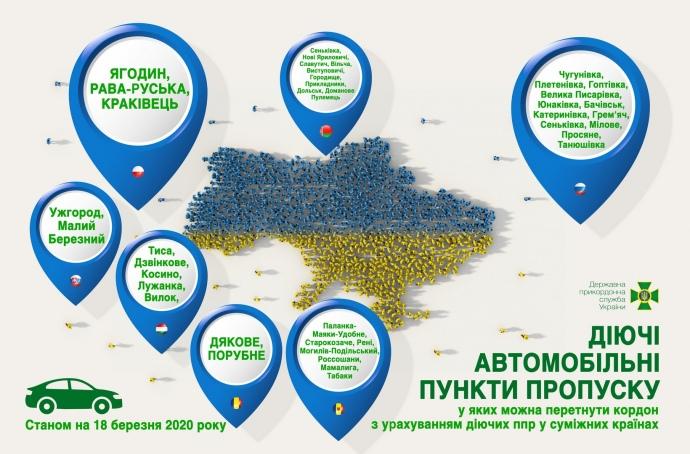 Карантин в Україні: опублікований список працюючих автомобільних пунктів пропуску (ІНФОГРАФІКА) 1