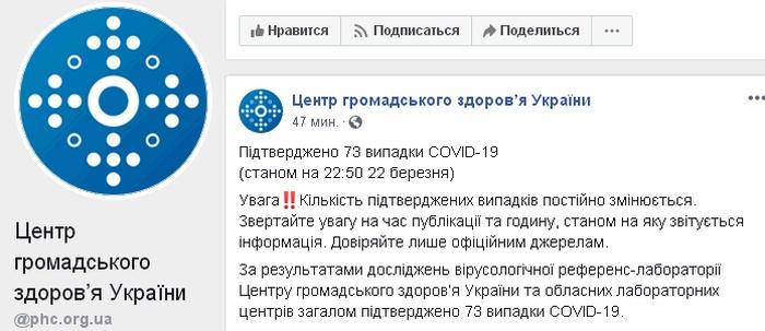 Скриншот поста ЦОЗ Украины в Facebook