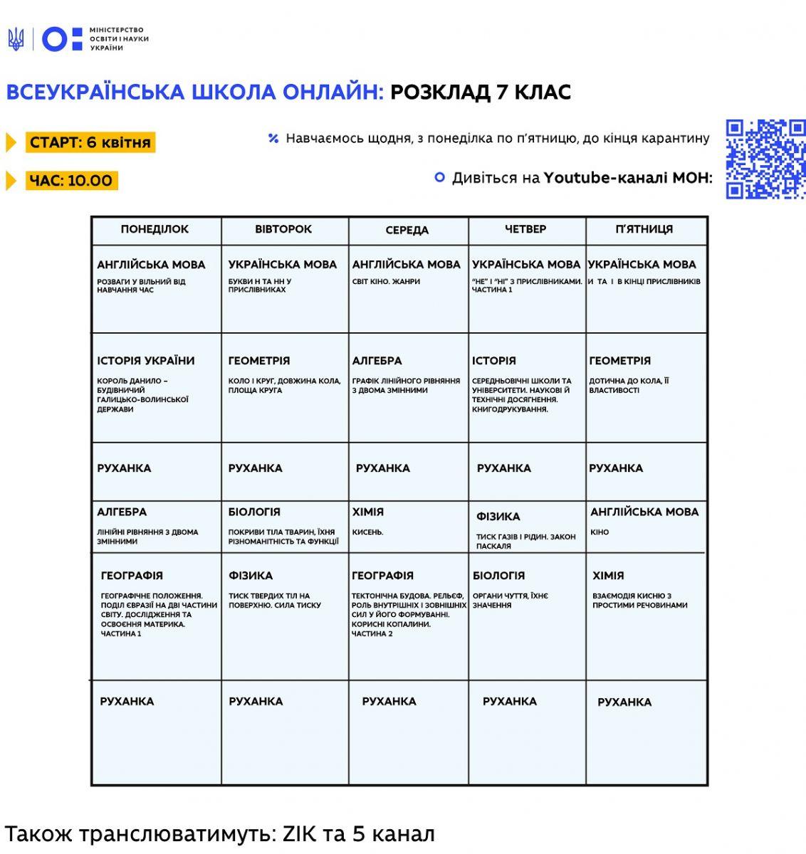 "Расписание уроков онлайн 7 класс: ""Всеукраинская школа онлайн"" / Фото: МОН"