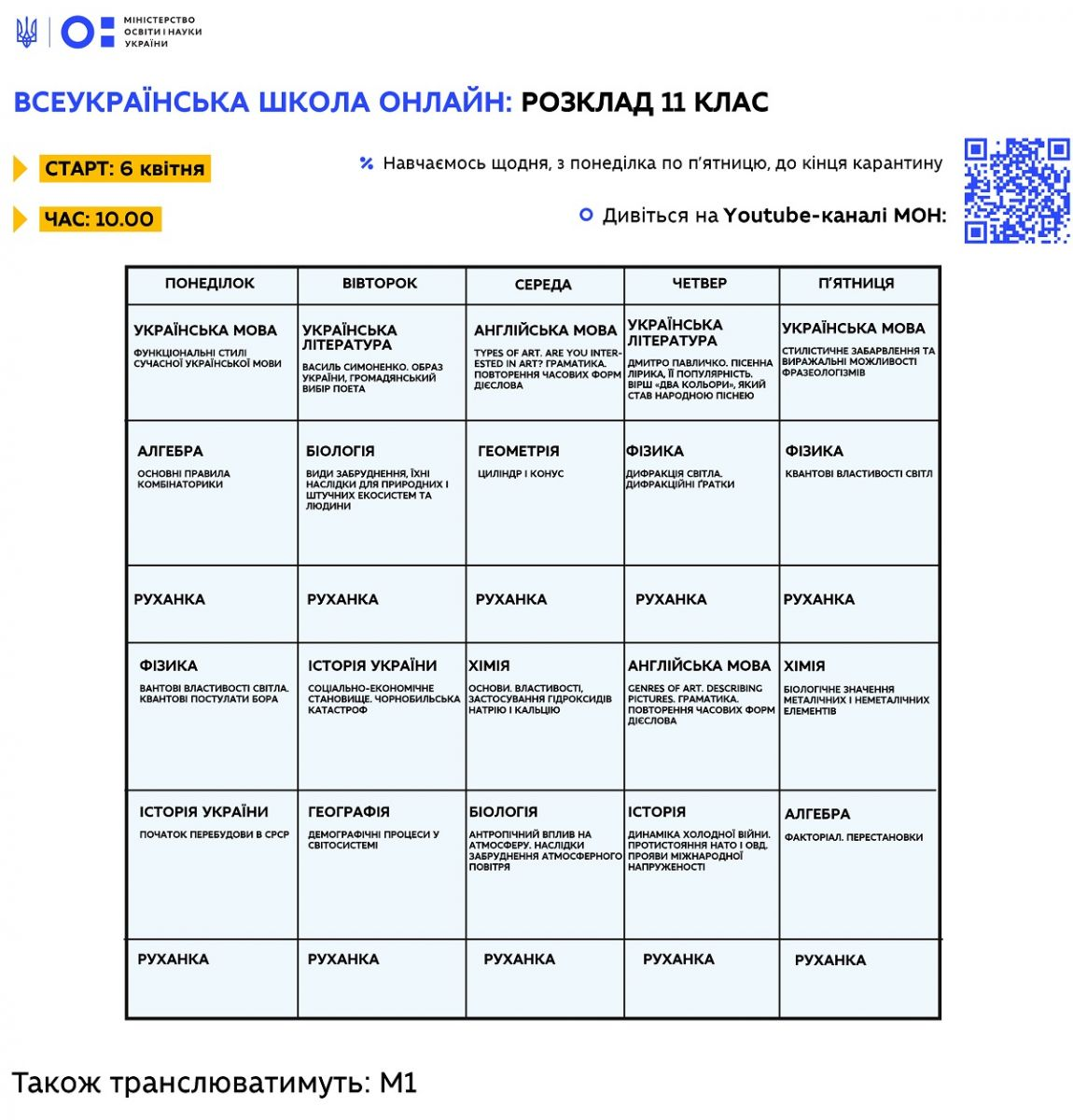 "Расписание уроков онлайн 11 класс: ""Всеукраинская школа онлайн"" / Фото: МОН"