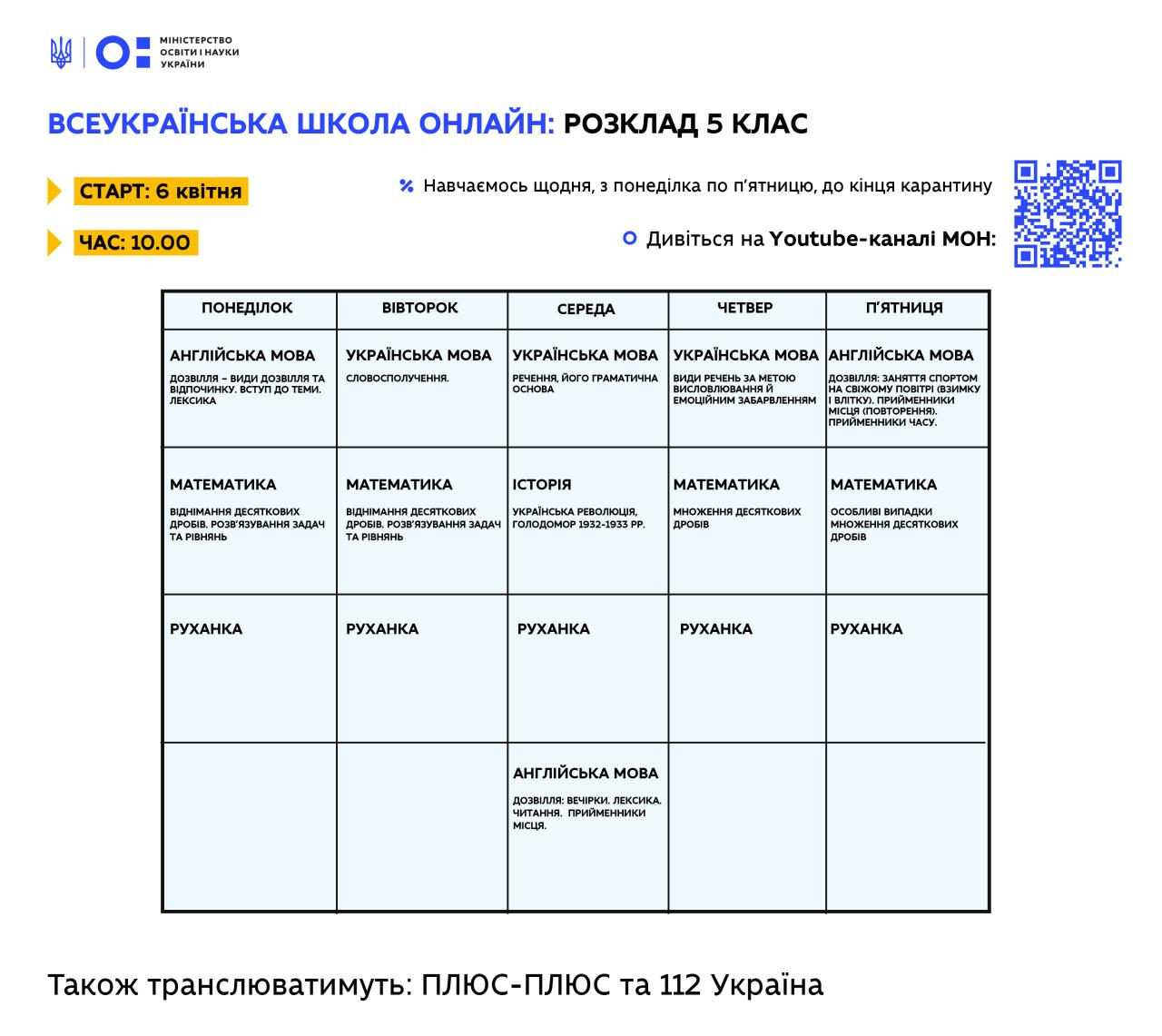 "Расписание уроков онлайн 5 класс: ""Всеукраинская школа онлайн"" / Фото: МОН"