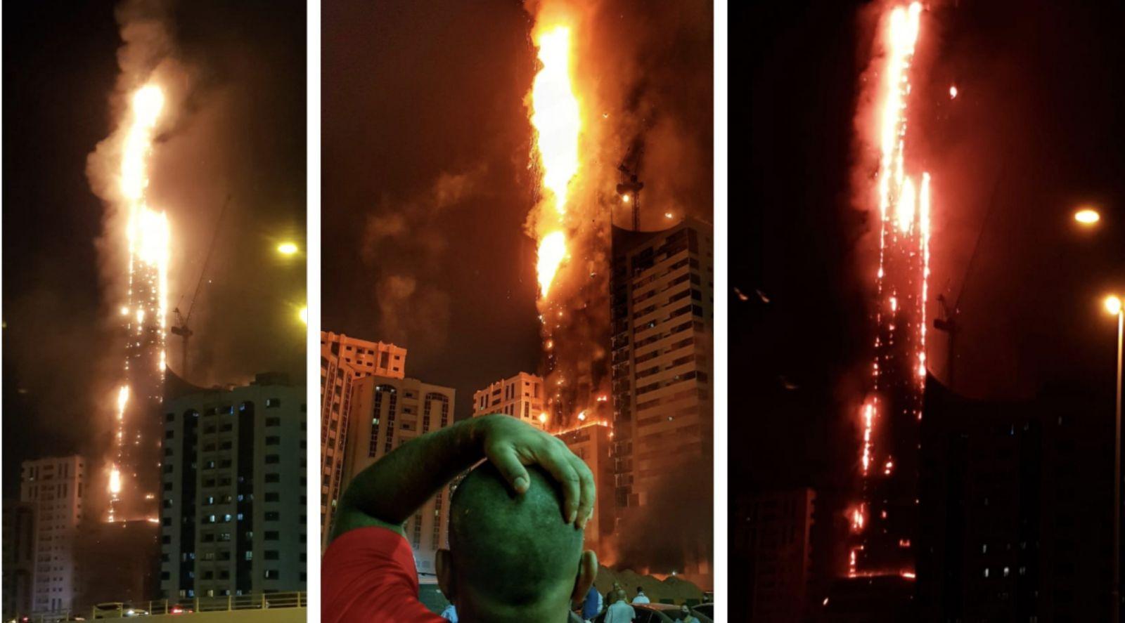 Пожежа в хмарочосі Sharjah Massive. Фото: Khaleej Times