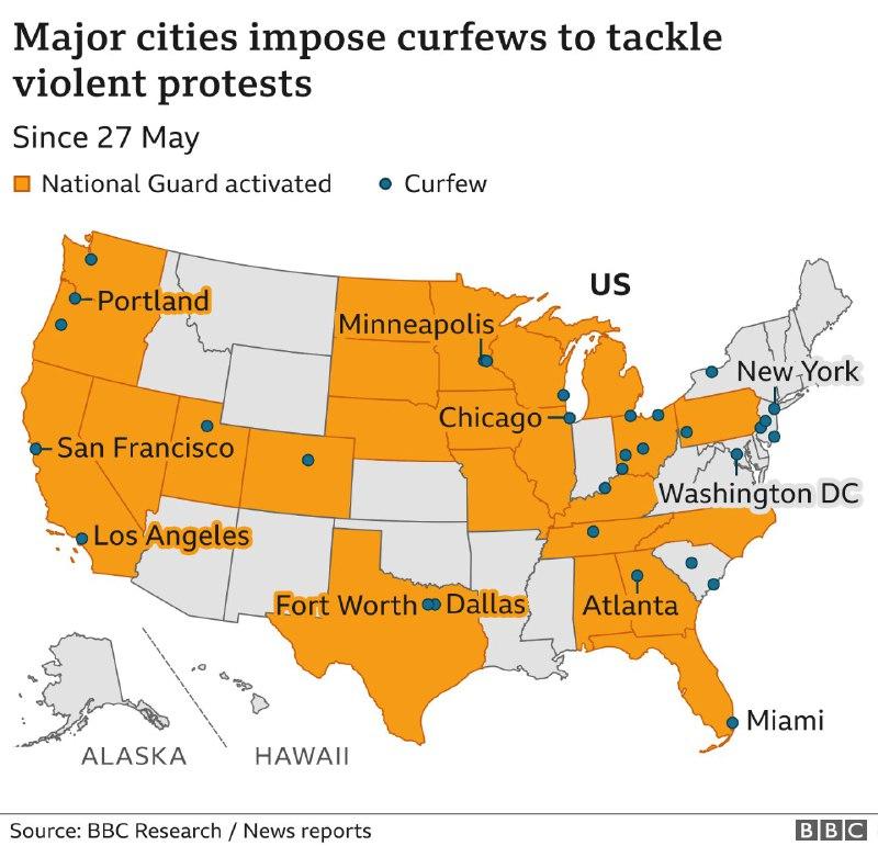 Жовтим виділені штати, де діє Нацгвардія, синім - міста з комендантською годиною