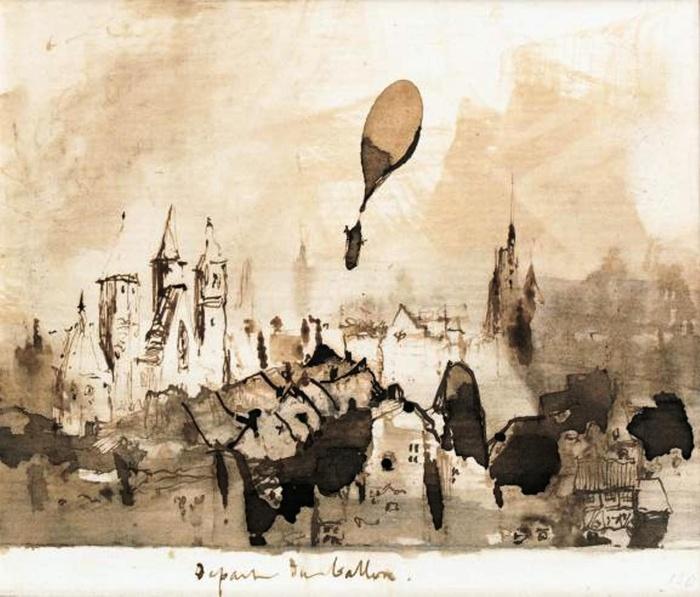 Малюнок Віктора Гюго «Запуск повітряної кулі». Фото: Slon