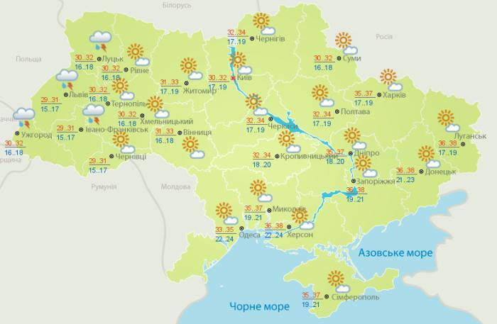 Погода в Украине на 6 июля. Карта: Гидрометцентр