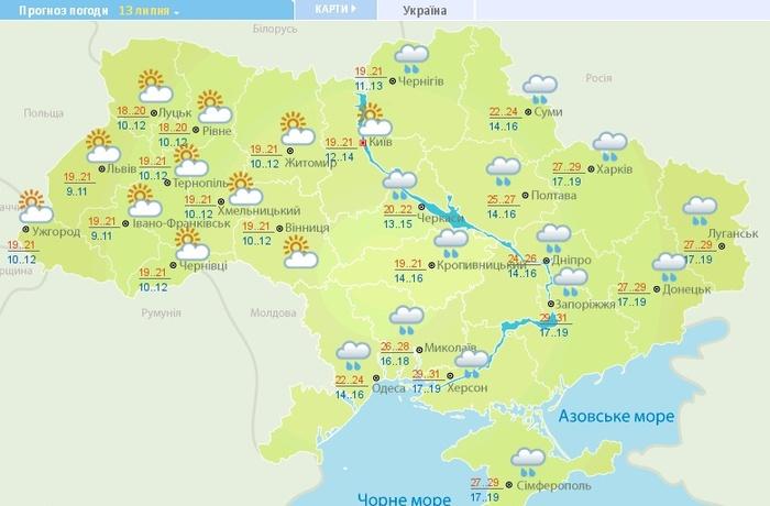 Погода в Україні на 13 липня. Карта: Гідрометцентр