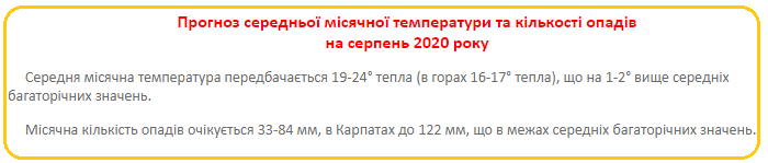 Прогноз погоди на серпень оприлюднив Укргідрометцентр
