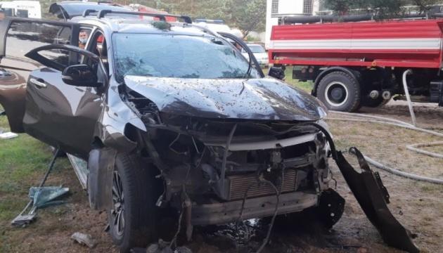Взорвавшееся авто. Фото: Нацполиция