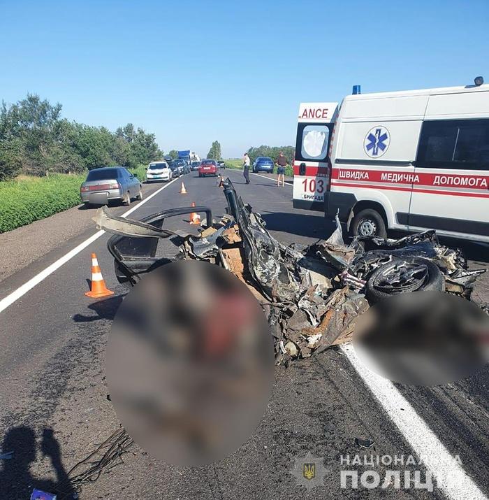 Жахлива смертельна ДТП сталася у Запорізькій області. Фото: Нацполіція