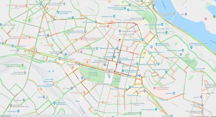 Пробки в Киеве, спровоцированные захватом заложников, карта: Googly Maps
