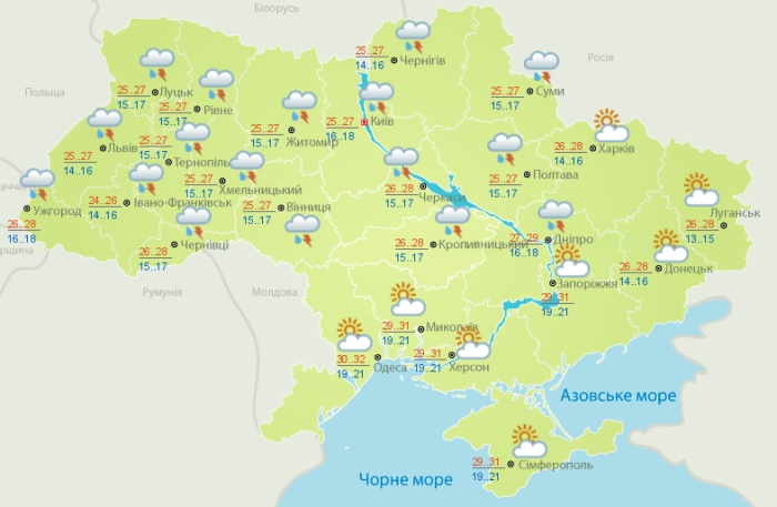 Погода в Украине на 9 августа. Карта: Гидрометцентр