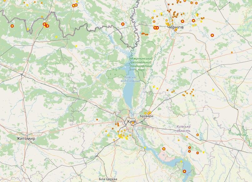 Штормовое предупреждение в Киеве. Карта: Lightningmaps