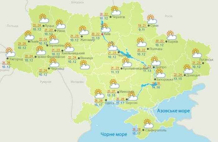 Погода в Украине на 13 августа. Карта: Гидрометцентр