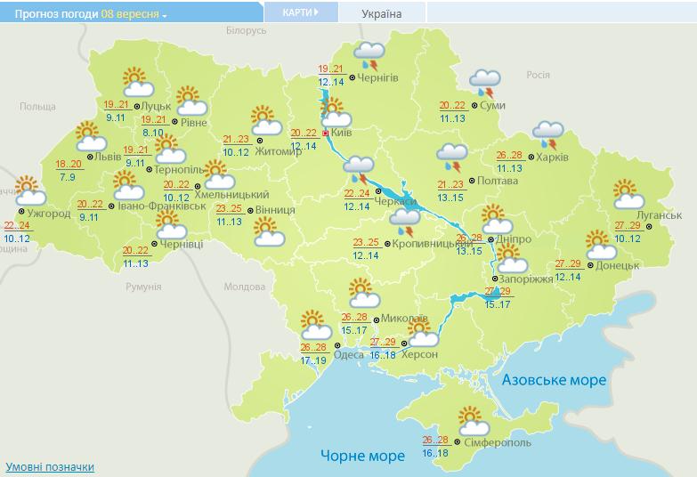 Погода в Украине на 8 сентября. Фото: Укргидрометцентр