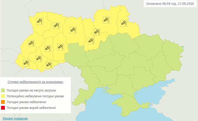 Штормовое предупреждение. Карта: Гидрометцентр
