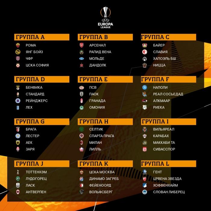 Результаты жеребьевки Лиги Европы, инфографика: УЕФА