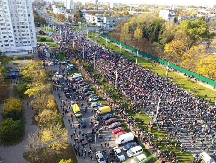 Количество протестующих в Минске. Фото: Tut.by