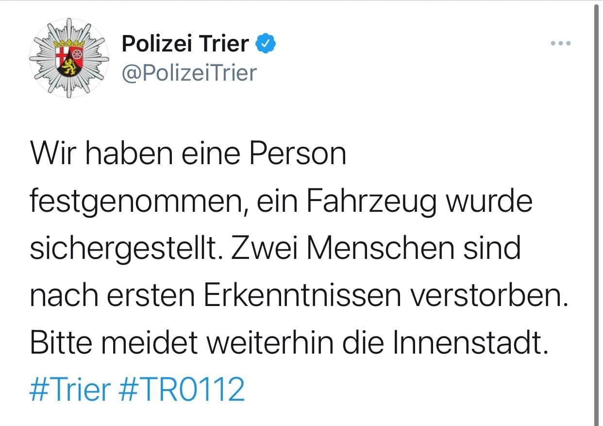 Сообщение полиции. Скриншот: Twitter