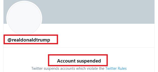 Такий вигляд має заблокована сторінка Трампа у Твіттер