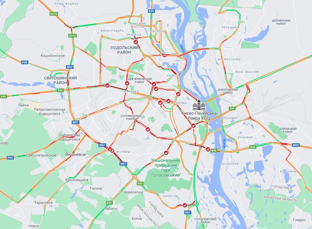 Затори у Києві. Карта: Google Maps