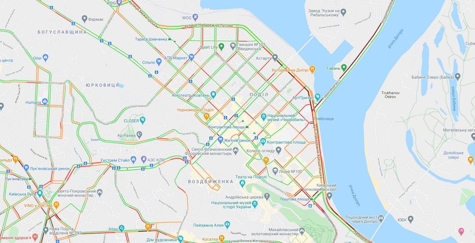 Пробки в Киеве, карта: Google Maps