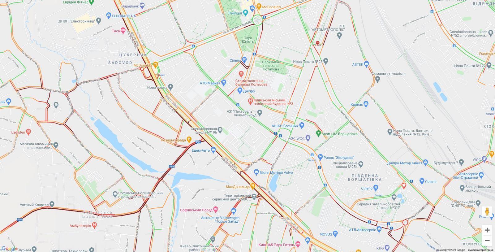 Пробки в Киеве, инфографика: КГГА