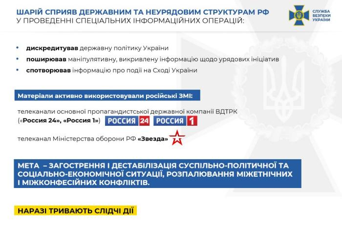 Шарию объявлено подозрение, инфографика: СБУ