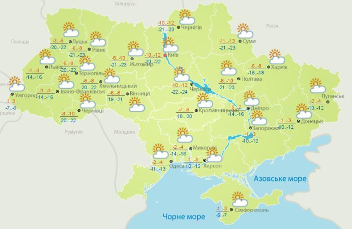 Погода в Украине на 19 февраля. Карта: Гидрометцентр