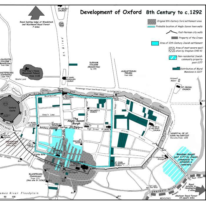 Карта, демонстрирующий развитие Оксфорда с VIII века до 1292 года. Еврейский квартал отмечен синим цветом. Инфографика: Бристольского университет