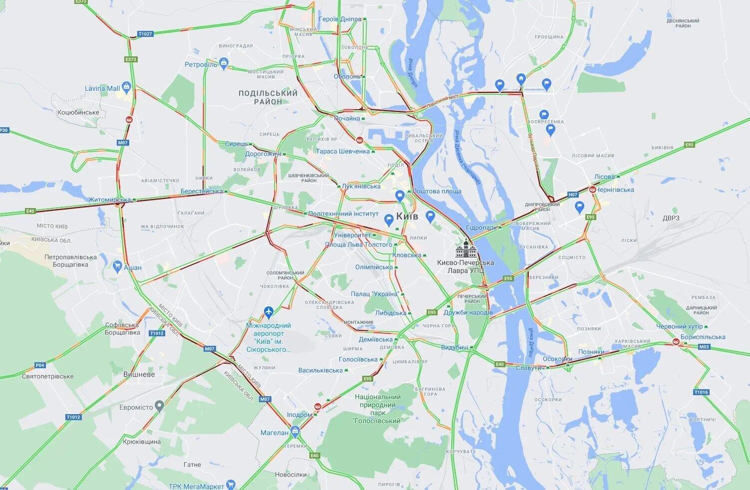 Пробки в Киеве. Фото: Google Maps