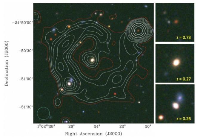 ORC J0102-2450 – контуры радиосигнала ASKAP, наложенные на оптическое цветное изображение, фото: Phys