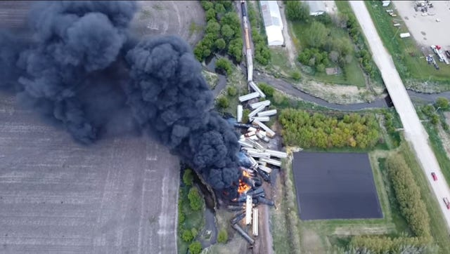 Возгорание поезда. Фото: AP