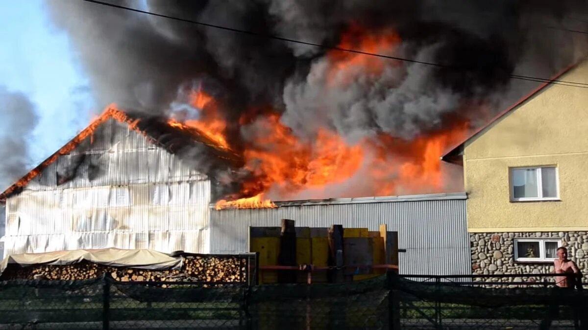 Пожар в Польше. Фото: RMF24