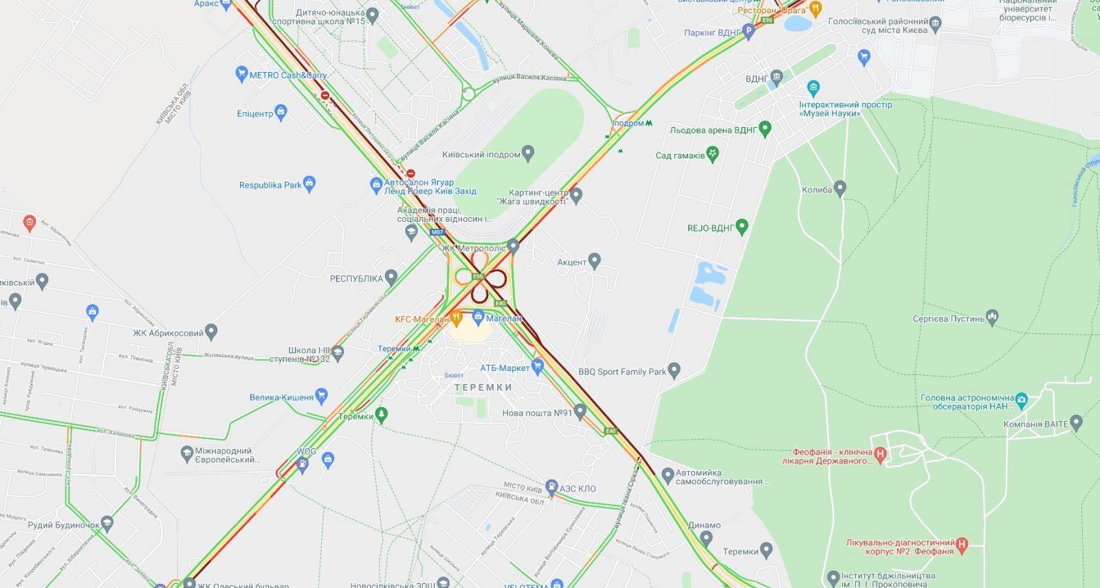 Пробки в Киеве, инфографика: Google Maps