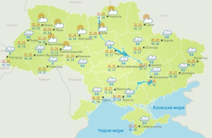 Погода в Украине на 22 июля. Карта: Укргидрометцентр
