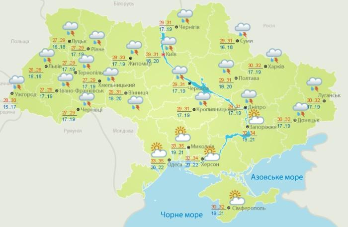 Погода в Украине на 29 июля. Карта: Укргидрометцентр