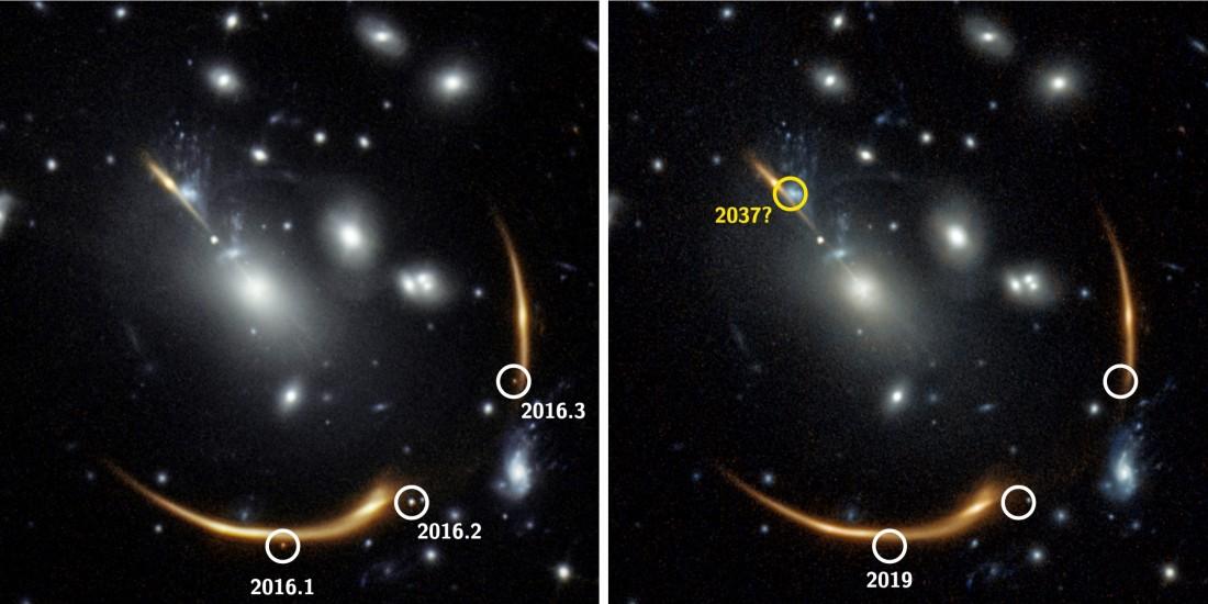 Слева – изображение 2016 года, на котором свет от той же взрывающейся звезды – сверхновой – видно в трех местах на ночном небе. Справа – та же область в 2019 году, где сверхновой уже нет. Фото: S. Rodney (U. of S. Carolina), G. Brammer (Cosmic Dawn Center), J. DePasquale (STScI), P. Laursen (Cosmic Dawn Center)